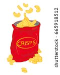 potato chips  crisps  vector... | Shutterstock .eps vector #665918512