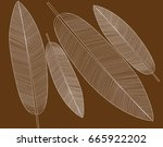 white leaf structure on brown... | Shutterstock .eps vector #665922202