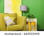 green color in modern interior... | Shutterstock . vector #665922445