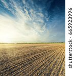 plowed field in autumn at... | Shutterstock . vector #665923996