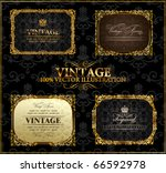 vector vintage gold black... | Shutterstock .eps vector #66592978