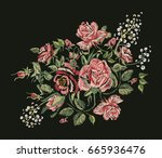 vector embroidery. red pink... | Shutterstock .eps vector #665936476
