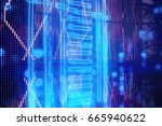 hi tech background blue blurred | Shutterstock . vector #665940622