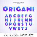 vector origami alphabet. letter ... | Shutterstock .eps vector #665951275