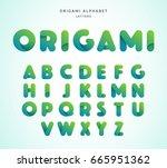 vector origami alphabet. letter ... | Shutterstock .eps vector #665951362