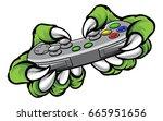 monster gamer player hands or... | Shutterstock .eps vector #665951656