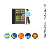 engineer checking server icon | Shutterstock .eps vector #665956372