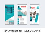 rollup banner design with... | Shutterstock .eps vector #665996446