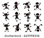 black silhouette of cartoon... | Shutterstock .eps vector #665998336