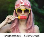 girl retro styled wearing... | Shutterstock . vector #665998906