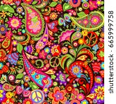 hippie vivid decorative... | Shutterstock .eps vector #665999758