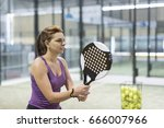 woman training paddle tennis... | Shutterstock . vector #666007966