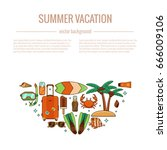 summer vacation beach icon... | Shutterstock .eps vector #666009106