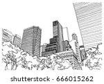 scene street illustration. hand ... | Shutterstock .eps vector #666015262