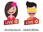 red gradient live stream sign... | Shutterstock .eps vector #666018046