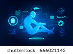 concept of science fiction... | Shutterstock .eps vector #666021142