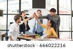 group of five creative workers... | Shutterstock . vector #666022216