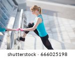 portrait of fitness and sporty... | Shutterstock . vector #666025198