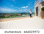 girl enjoying beautiful view on ... | Shutterstock . vector #666025972
