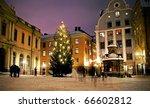 Christmas tree at Stortorget in Gamlastan, Stockholm, Sweden - stock photo