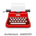 red typewriter isolated vector | Shutterstock .eps vector #66603295
