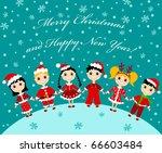 christmas children card. vector ...   Shutterstock .eps vector #66603484