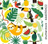 seamless pattern with tropical... | Shutterstock .eps vector #666050422