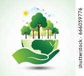 hands holding the green earth... | Shutterstock .eps vector #666059776