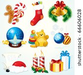 christmas set   detailed vector ... | Shutterstock .eps vector #66606028