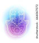 graphic hand drawn hamsa in... | Shutterstock .eps vector #666067072