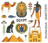 egypt icons set. vector... | Shutterstock .eps vector #666072595