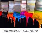 purple ink drop down from print ...   Shutterstock . vector #666073072