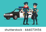 police officers. man and woman. ... | Shutterstock .eps vector #666073456