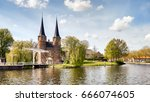 delft oostpoort drawbridge  the ... | Shutterstock . vector #666074605