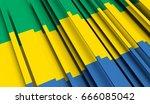 fragment flag of gabon. 3d... | Shutterstock . vector #666085042