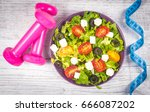 greek salad with fresh... | Shutterstock . vector #666087202