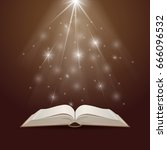 open book with mystic bright... | Shutterstock . vector #666096532