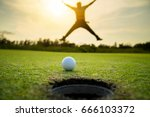 Golfer Jumping Happiness After...