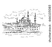hand drawn famous turkish... | Shutterstock .eps vector #666105085