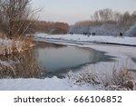 Frozen River And Park Landscape ...