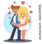 young couple in love. man and... | Shutterstock .eps vector #666106906