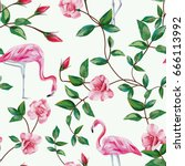pink flamingos in the branches... | Shutterstock .eps vector #666113992