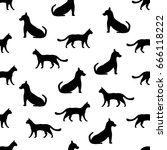 seamless background with cat... | Shutterstock .eps vector #666118222