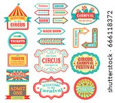 circus vintage signboard labels ... | Shutterstock .eps vector #666118372