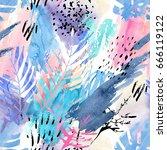 artistic watercolor seamless... | Shutterstock . vector #666119122