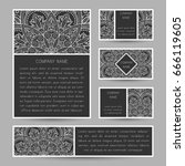 set of vector cards with... | Shutterstock .eps vector #666119605