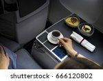 food served on board of... | Shutterstock . vector #666120802