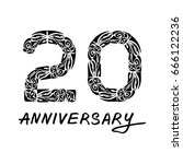 20 years anniversary polynesian ...   Shutterstock .eps vector #666122236