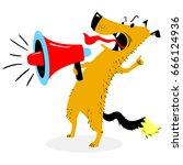 screaming dog. the dog barks... | Shutterstock .eps vector #666124936