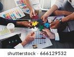 teamwork of partners. concept... | Shutterstock . vector #666129532